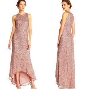 ADRIANNA PAPELL High Low Sequin Beaded Halter Gown